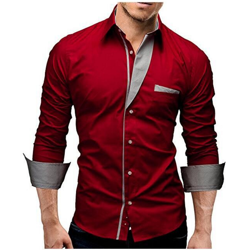 2018 Mode Märke Camisa Masculina Långärmad tröja Män Solid Färg - Herrkläder - Foto 3