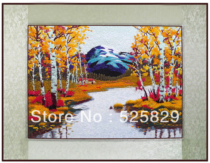 Chinese Traditional Diy Embroidery Winter Birch Forest Wall Art Beautiful Home Decor Artificial Crafts