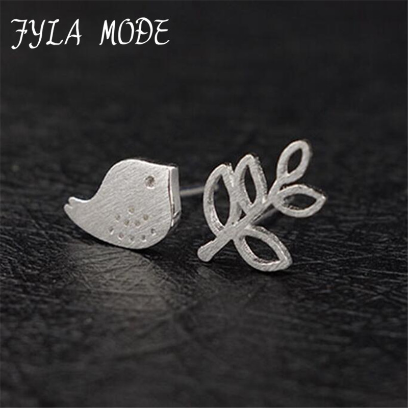 Fyla Mode 925 Sterling Silver Stud font b Earrings b font Fashion Olive Branch Peace Dove