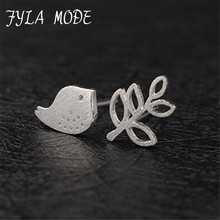 Fyla Mode 925 Sterling Silver Stud Earrings Fashion Olive Branch&Peace Dove 925 Real Pure Silver Earrings Women Party Jewelry