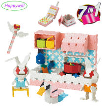 Happywill 7 in 1 Girls Laq Style 3D Building Blocks Christmas Gift 750pcs/set Educational Toys(China)