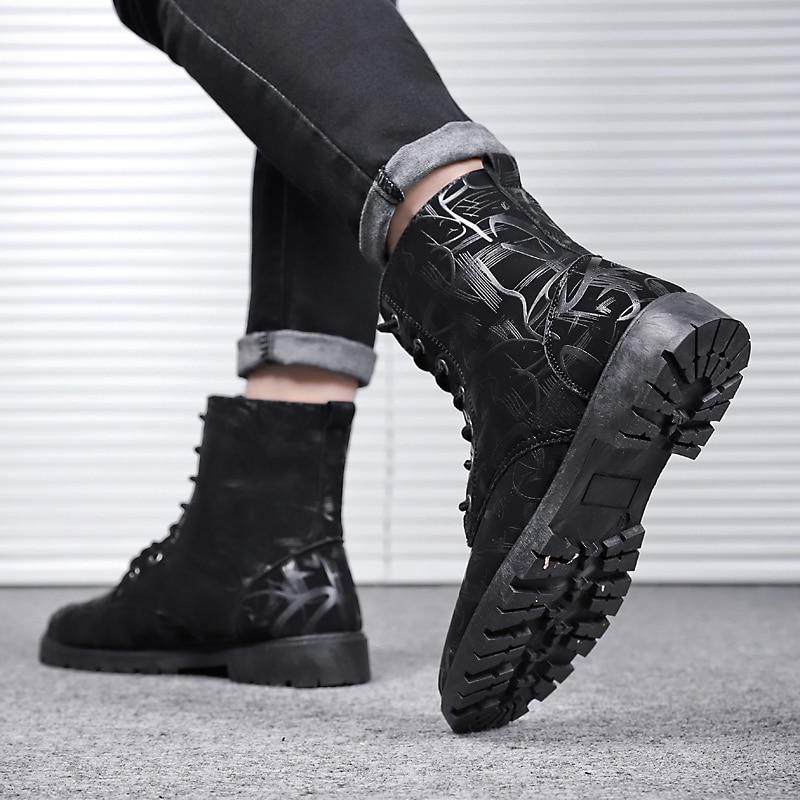 Outono Borracha Sapatos 2018 Neve Preto Homem Impressão Zapatos De branco Dos Segurança Seguridad Inverno Homens Botas zO0wqxOAU