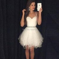 2019 скромные платья для выпускного короткие белые Выпускные платья на тонких бретельках украшенные бисером кристаллы оборки платье на выпу