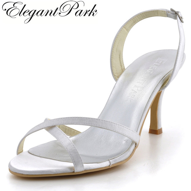 Woman Summer Sandals EP2105 Ivory Size 8 High Heel slingback pumps Satin  Wedding sandals bridal shoes 2a486e5bef24