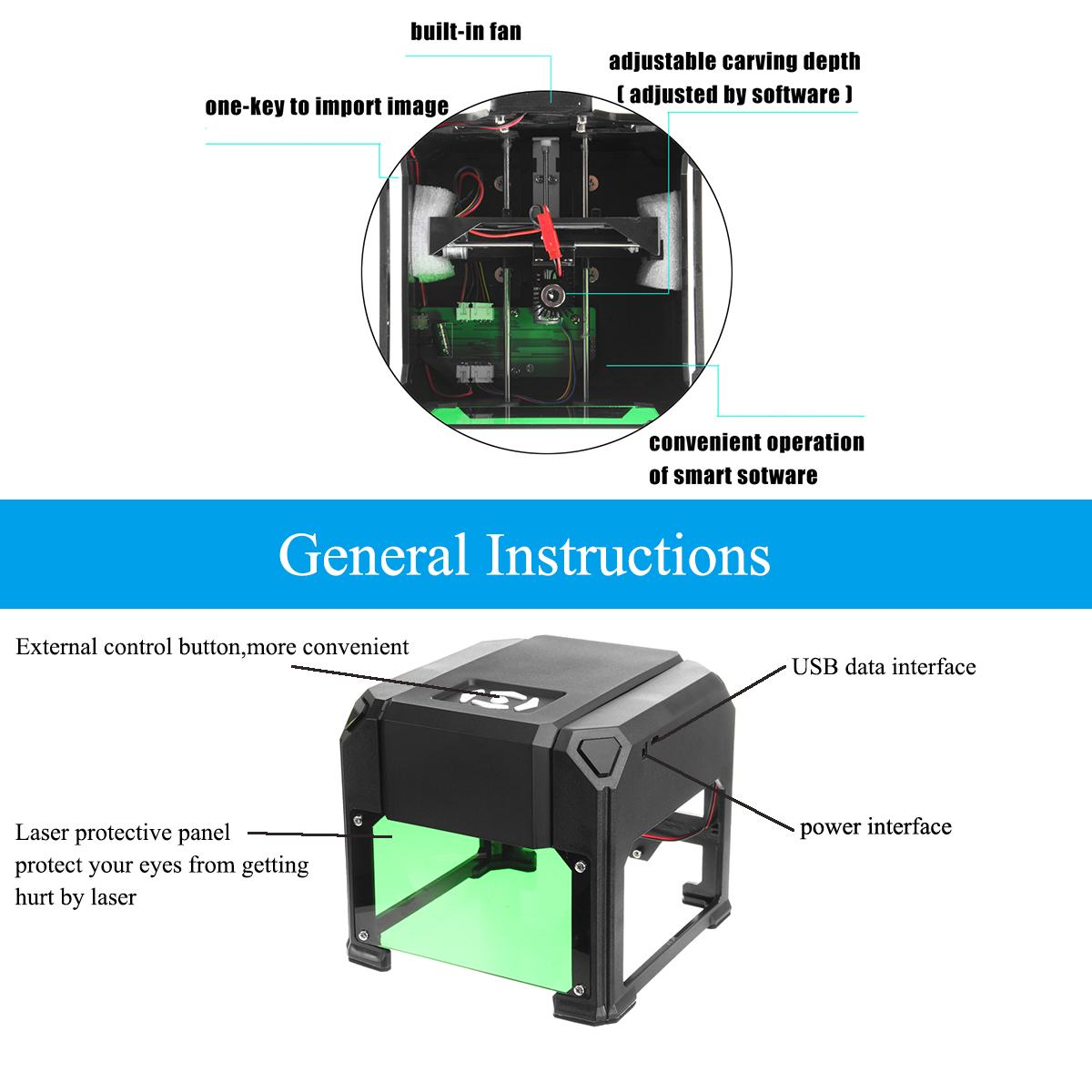 2000 Mw/3000 Mw Usb Desktop Laser Graveur Machine 80X80 Mm Graveren Bereik Diy Logo Mark Printer cutter Cnc Laser Carving Machine - 5