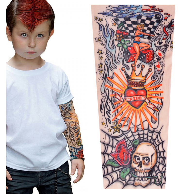 Tattoo Sleeves Kids Summer Arm Sun Protection Sleeve Boys Girls Hip Hop Sport Sleeves Arms