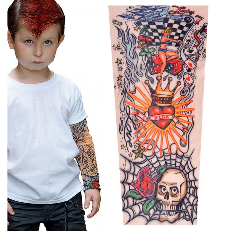 Tattoo Sleeves Kids Summer Arm Sun Protection Sleeve Boys Girls Hip Hop Sport Sleeves Arms