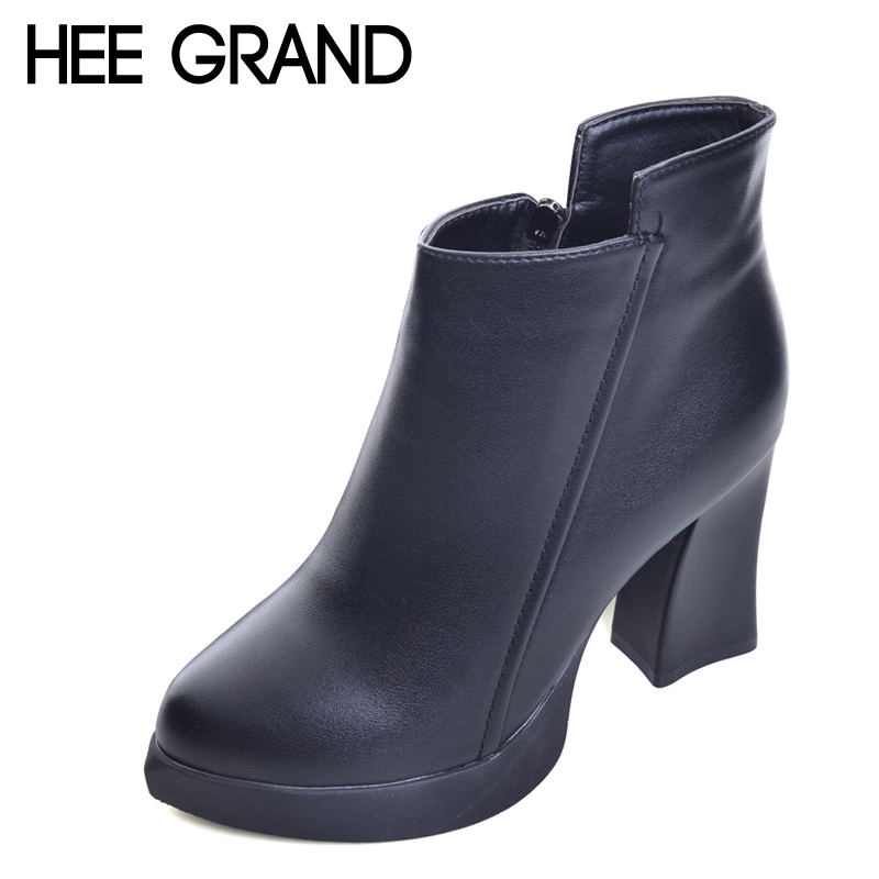 HEE GRAND Sexy Women Ankle Boots 2017 Casual Platform Shoes Woman Sexy High Heels Slip On Fashion Autumn Women Shoes XWX4425