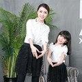 Семья одежда матери-дочери наряды семья взгляд мать и дочь свободного покроя твердые блузки соответствия мать дочь одежда