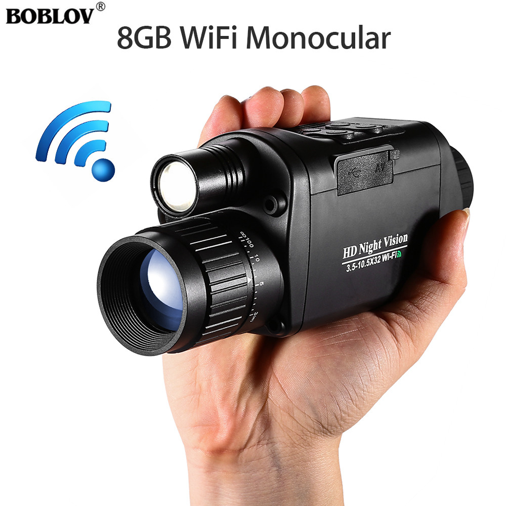 BOBLOV WiFi Hunting Night Vision Goggles 3X Monocular Telescope Digital Vision Night 3.5 10.5 x 32 Night Vision camera-in Night Visions from Sports & Entertainment
