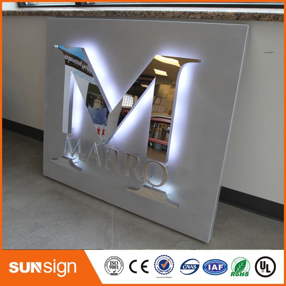 Stainless-Steel Light-Up-Signs Letters Doordash Backlit Mirror Polish-Reverse-Lit-Channel