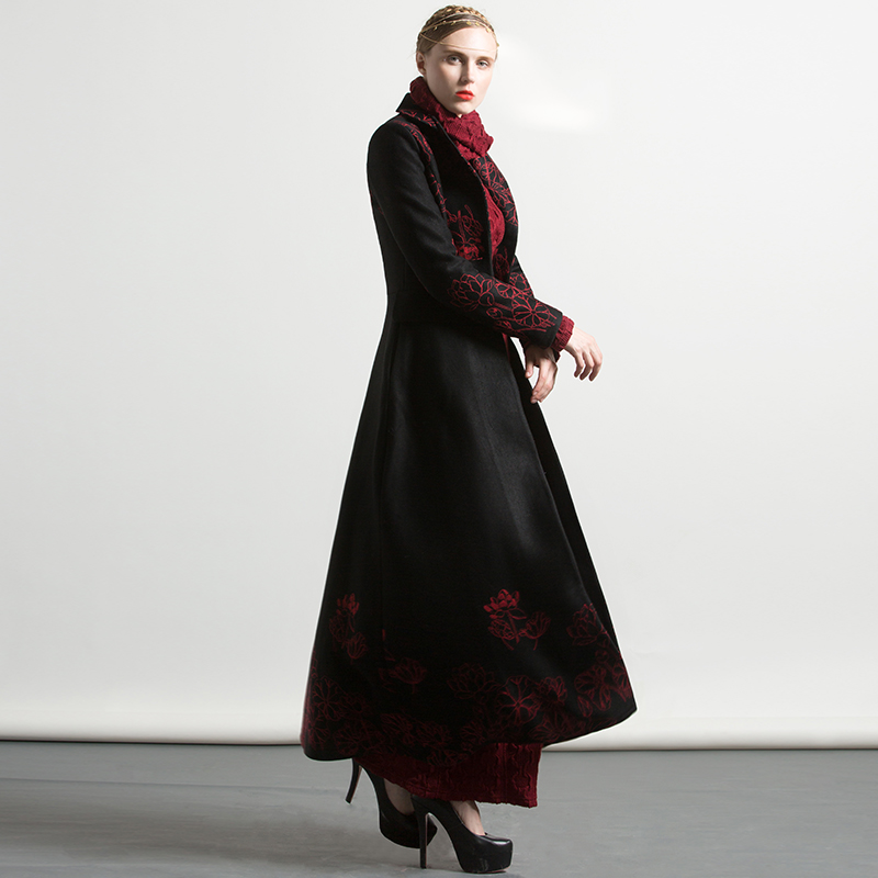 Manteaux Longs Qualité Femmes 4xl X 2017 Laine longue De Broderie Nouveau Hiver Mélanges Haute Rouge Taille Floral Noir Plus Chaud wtCgWRxq