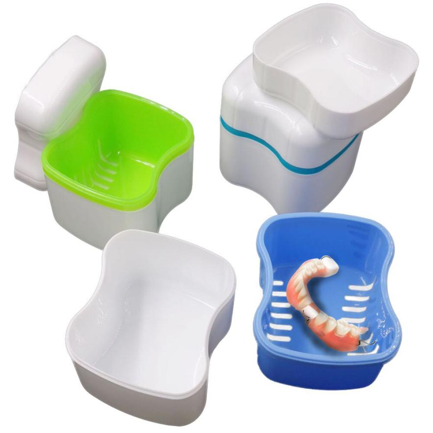 DIVV Nueva caja de almacenamiento de los dientes Caja de baño de la dentadura Caja de baño de dientes dentales falsos Enjuague cesta Cesta portátil de viaje 1PC