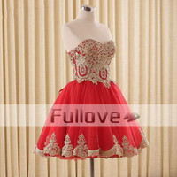 Top Quality Red Chiffon Short Prom Dresses Cheap 2019 Gold Appliques Slim Cut Sweetheart Party Gowns Vestido De Feata
