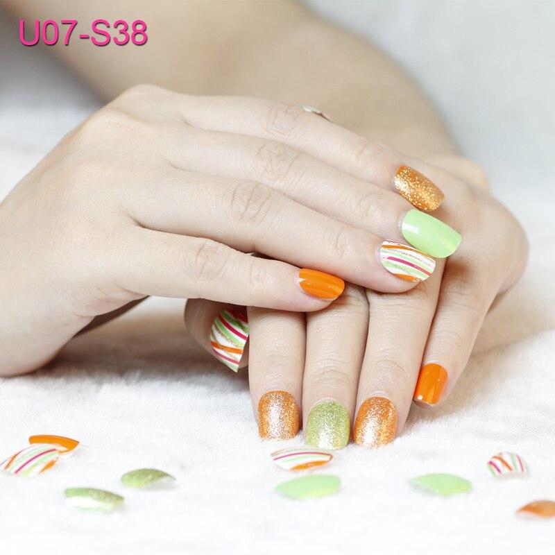 FOREVERJASMINE Glitter Nail Polish Gel Tips Self Adhesive Orange ...