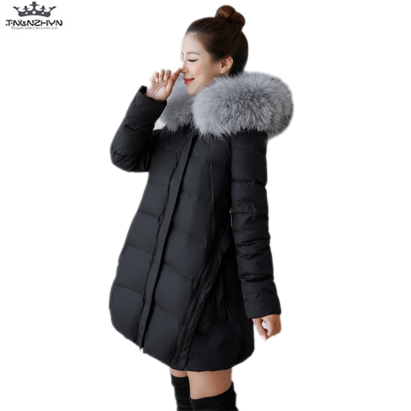 tnlnzhyn 2017 New Winter Women Coat Fashion Real Raccoon Fur Collar Medium long Down Jacket Thick Hooded Down Jacket Coat Y775 2017 winter new clothes to overcome the coat of women in the long reed rabbit hair fur fur coat fox raccoon fur collar