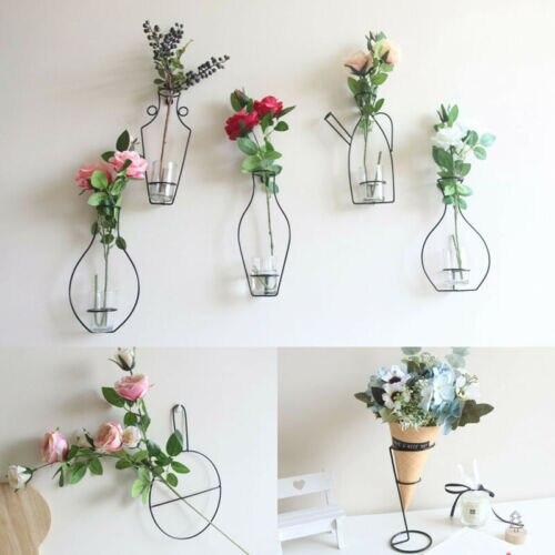 Nordic Style Iron Frame Vase Wall Hanging Plant Dried Flower Racks Bottle DIY Creativite Decorative Shelves