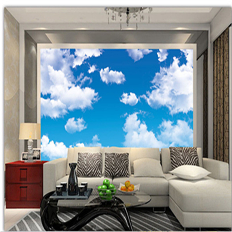 все цены на 3D Custom Wallpapers Nature Landscape Wall Murals Blue Sky White Clouds Walls Paper Home Decor for Living Room Ceiling Wallpaper