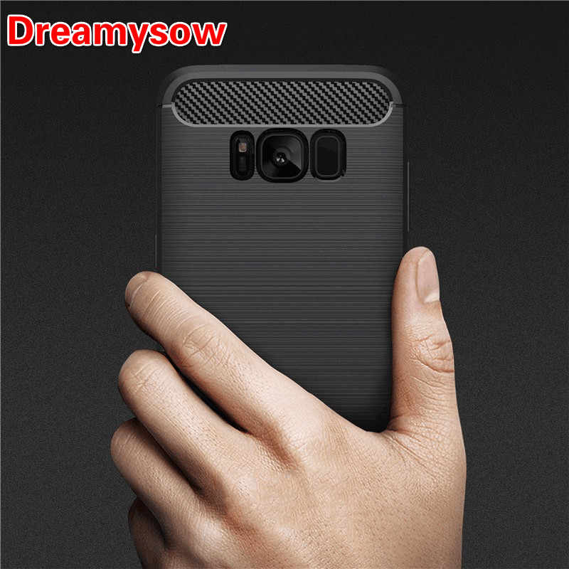 Luxury Soft TPU Cover Cases Silicon Carbon Fiber Case for Samsung Galaxy J3 J5 J7 A3 A5 A7 2016 2017 2018 S6 S7 Edge S8 S9 Plus