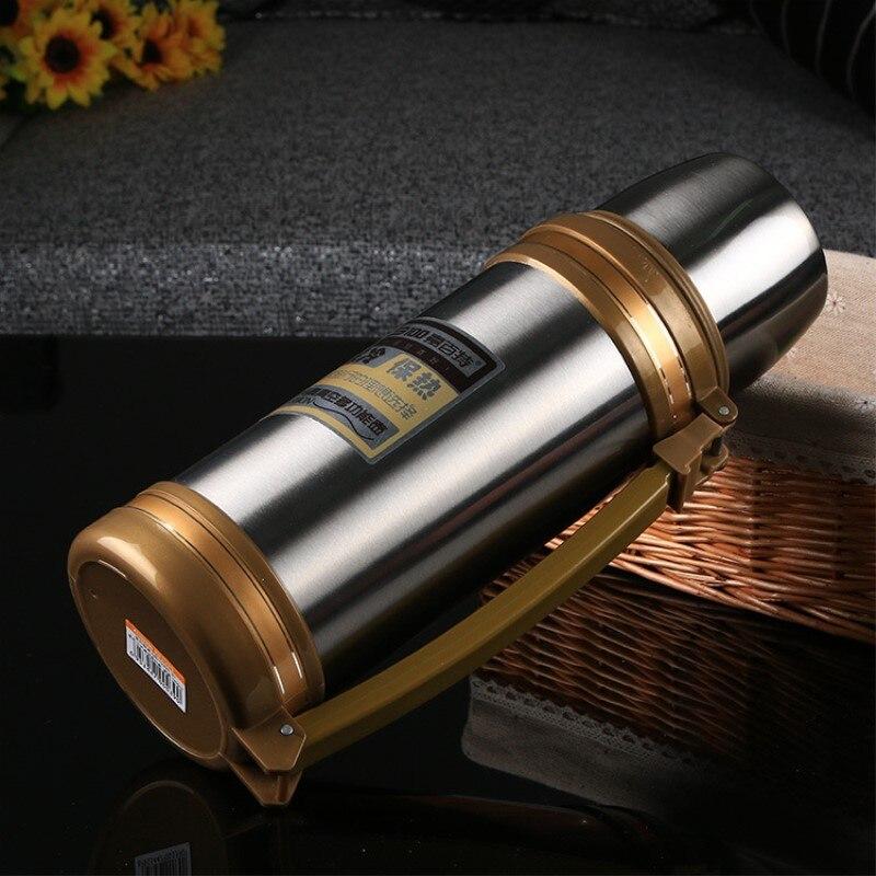Big Thermos Su Şüşəsi Flask Paslanmayan Polad Metal Xarici - Mətbəx, yemək otağı və barı - Fotoqrafiya 1