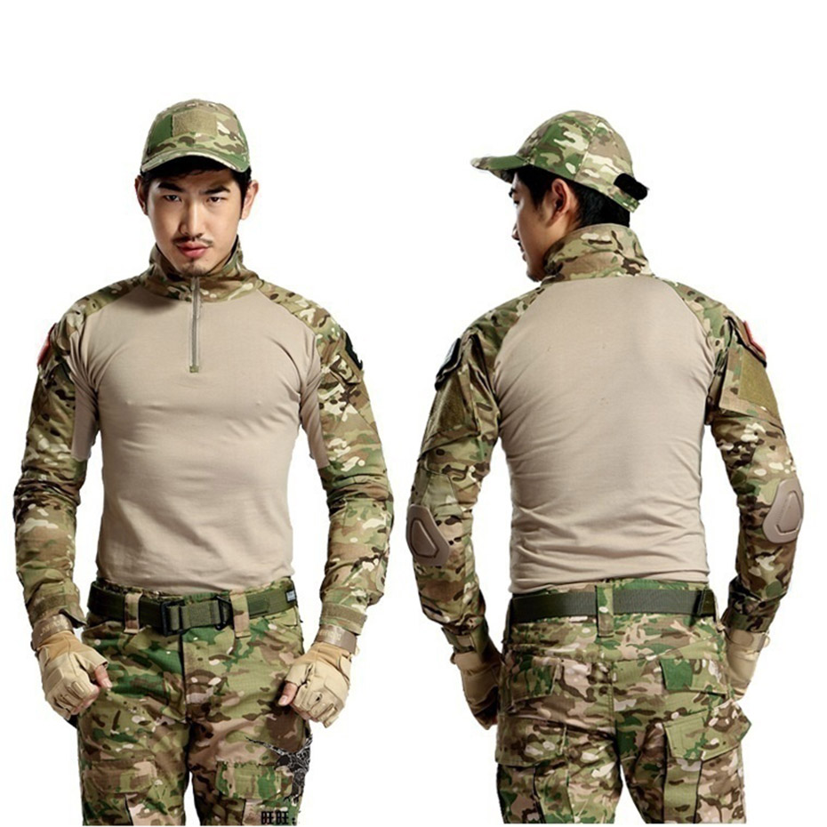 Zogaa New Multicam Uniform Military Long Sleeve T Shirt Men Camouflage Quick Dry Fishing Tactical T-shirt Men Combat Running
