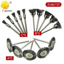 JIGONG Accesorios de pulido y pulido, Cepillo rotativo de acero, cepillos de rueda de alambre para amoladora, herramienta rotativa para mini taladro Poli