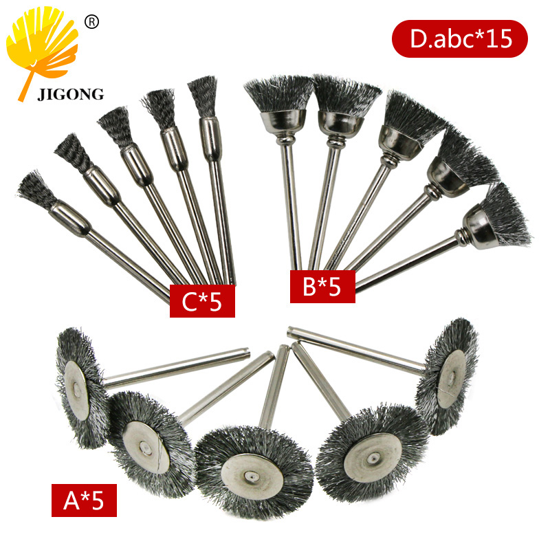 JIGONG Grinding And Polishing Accessories  Steel Rotary Brush Wire Wheel Brushes For Grinder Rotary Tool For Mini Drill Poli