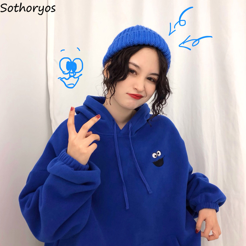 Hoodies Women Pockets Embroidered Cartoon Trendy Cute Female Loose BFplus Velvet Womens Long Sleeve All match