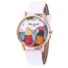Милая пара узор сплав золота циферблат белый кожаный ремешок Дамская мода кварцевые часы 2018 Для женщин часы Баян Saat часы N447