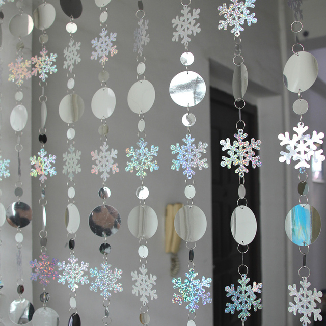 Christmas decoration curtain big snowflakes laser sequins PVC glitter sequins curtain Christmas tree ornaments