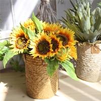 7 Heads Sunflower Flower Artificial Flowers Cheap Fake Silk Artificial Bouquet Floral Garden Home Decor New