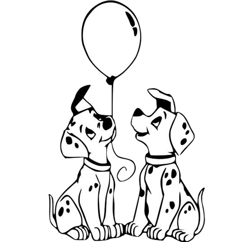 9.2*14.2CM Dalmatians Dog Vinyl Decal Endearing Car Stickers Car Styling Truck Accessories Black/Silver S1-1069