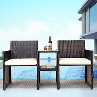 Patio Rattan Chairs Conversation Cushioned Seat Sofa Set Furniture Outdoor Dining Set OP3422