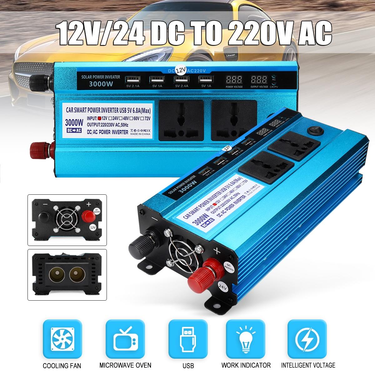 Voltage Transformer USB Converter Solar Power Inverter Car LED Peak 3000W DC 12/ 24V to AC 220V Sine Wave Digital Display 1600w автомобильный инвертор 4 usb 12v 24v до 220v dual digital display of protection voltage modefied sine wave car inverter co