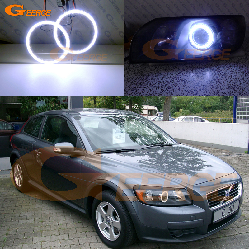 For Volvo C30 2007 2008 2009 2010 projector lens Excellent angel eyes Ultra bright illumination COB led angel eyes kit for alfa romeo mito 2008 2009 2010 2012 2013 2014 2015 excellent angel eyes ultra bright illumination cob led angel eyes kit