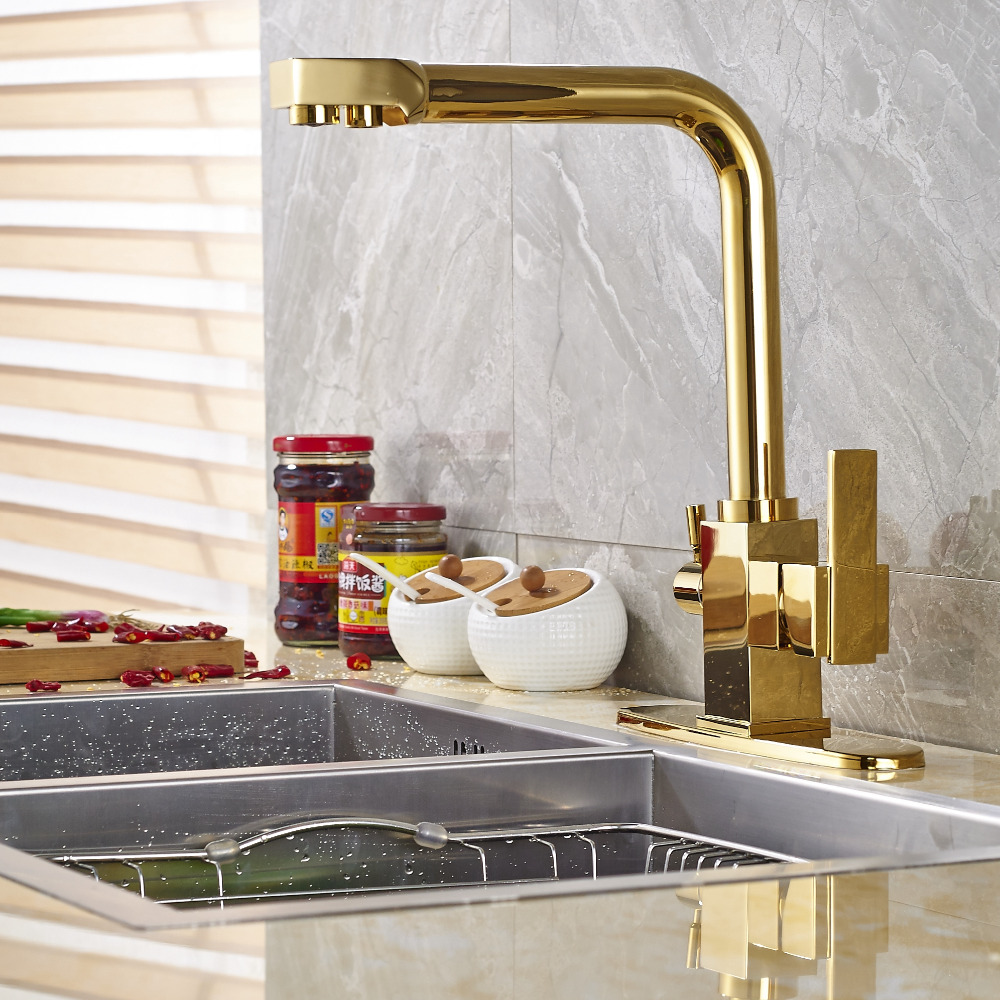 Newly Arrival Solid Brass Golden Finish Kitchen Faucet Mixer Tap Pure Water Spout Deck Mounted golden brass kitchen faucet dual handles vessel sink mixer tap swivel spout w pure water tap
