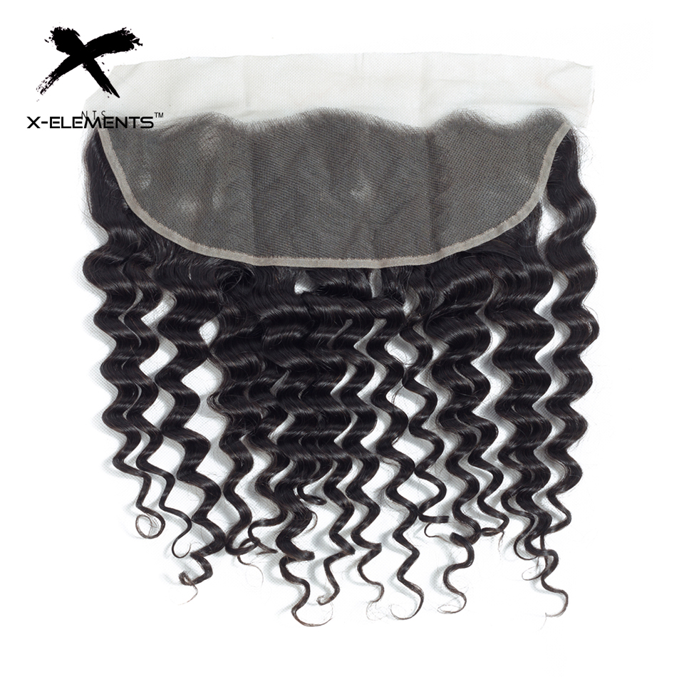 X-Elements Brazilian Deep Wave Frontal 100% Human Hair 13x4 Lace Frontal Deep Wave Non-Remy Natural Color Hand Tied Lace Frontal (1)