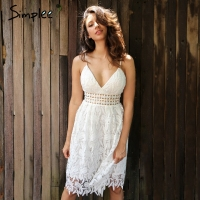 Simplee Deep V Padded Backless White Lace Dress Lined Summer Dress Women Sundress Sexy Hollow Out