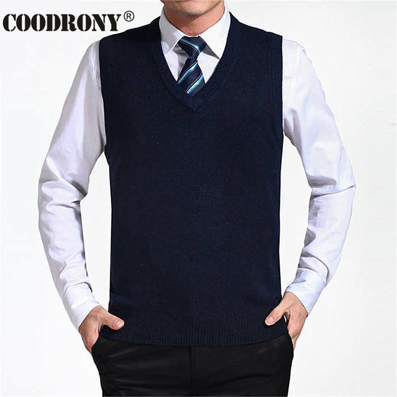 COODRONY Новое поступление Однотонный свитер жилет мужской кашемировый свитер шерстяной пуловер для мужчин бренд с v-образным вырезом без рукавов Джерси Hombre - Цвет: Navy Blue