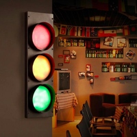 Creative Vintage Industry Black Iron Glass Traffic Light Led Wall Light For Living Room Bar Restaurant
