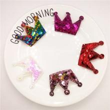 5pcs/lot 5x4cm Sequin Crown Padded Applique for DIY Children headwear Accessories & Craft Decoration