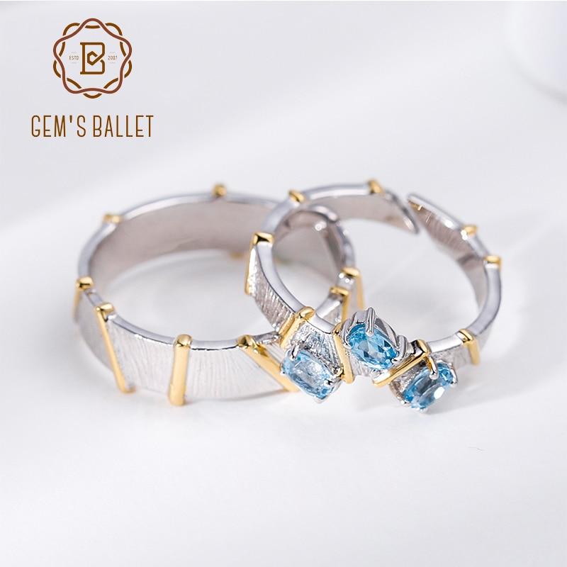 GEM'S BALLET Natural Swiss Blue Topaz Cross Couple Rings 925 Sterling Silver Handmade Adjustable Open Ring For Women Engagement