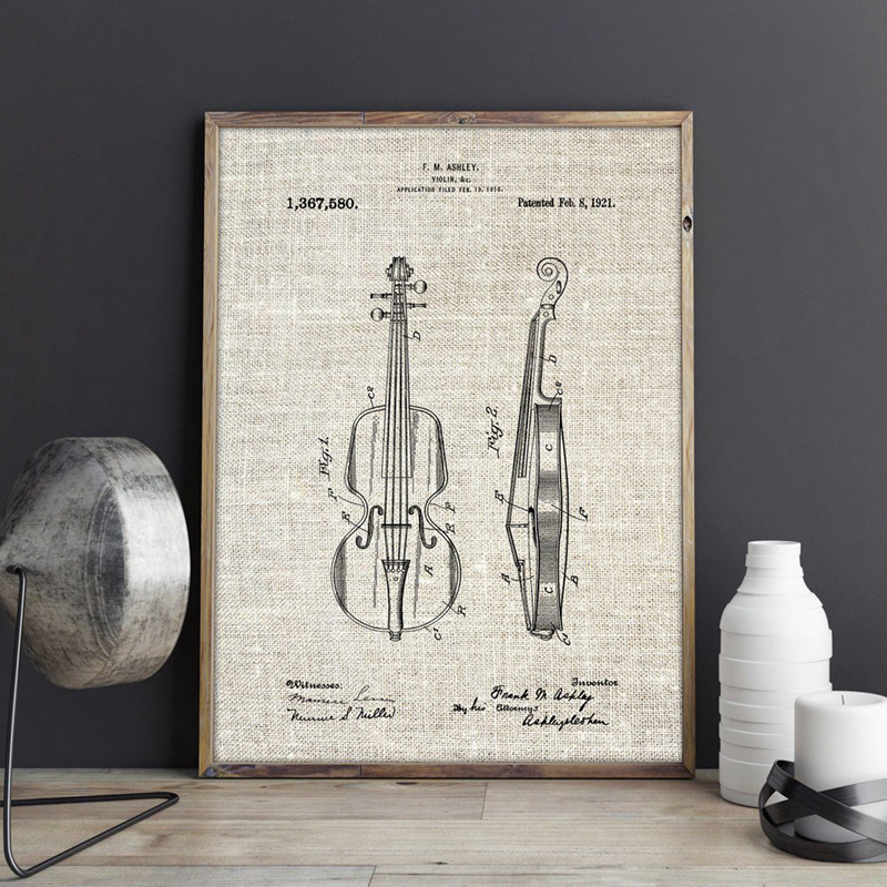 Violin Patent Prints Violinist Poster Boys Room Decor Vintage Blueprint Canvas Painting Gift Idea Music Room Wall Decoration Painting Calligraphy Aliexpress