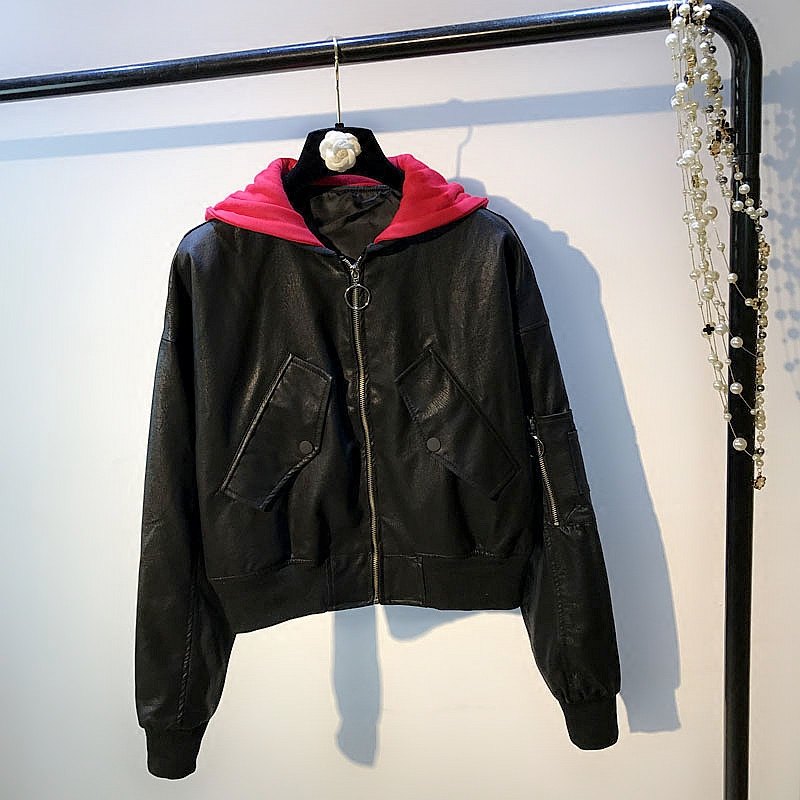 Autumn and winter leather female short sleeves red PU jacket loose hooded jacket ladies Harajuku