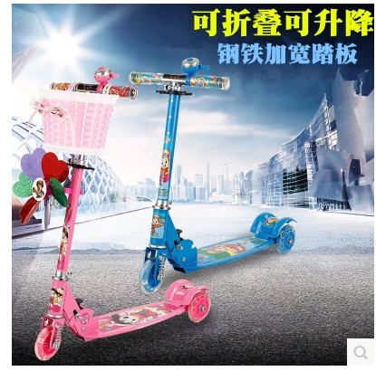 K12 Scooter rotondo tre quattro pattini a rotelle a 4 ruote pieghevole bambino Bambini scivolosi auto skuter trottinette per i bambini