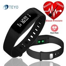 Teyo умный Браслет V07S крови Давление монитор сердечного ритма stappenteller Водонепроницаемый шагомер запястье смарт-группы для iOS и Android