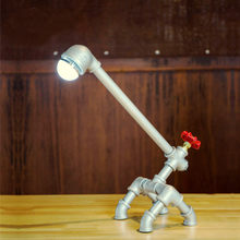 Retro Metal desk lamp Light Novely Style Antique Iron Industrial Water Pipe Tube Desk Lamp Light Led Lamp(China)