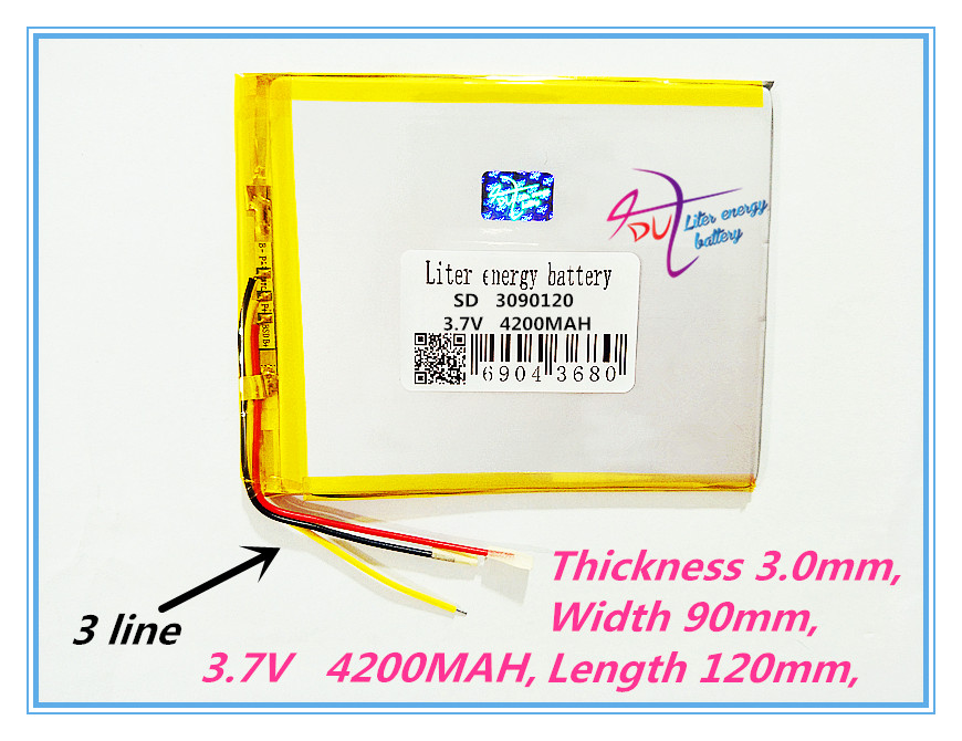 3 line 3090120 3.7V,4200mAH (polymer lithium ion battery) Li-ion battery for tablet pc 7 inch 8 inch 9inch 3090120 Free Shipping 2016 new 7 4v 4200mah lithium polymer battery li po battery pack for electric heating clothes vest with 8 4v eu us plug charger