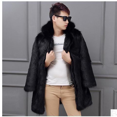 K470 Gran Tamaño Fox Sección Casual Piel Abrigos blanco white Para Hombre Masculino Negro Otoño Larga Black Casaco Invierno Imitación Chaquetas De wFUxqn7vO