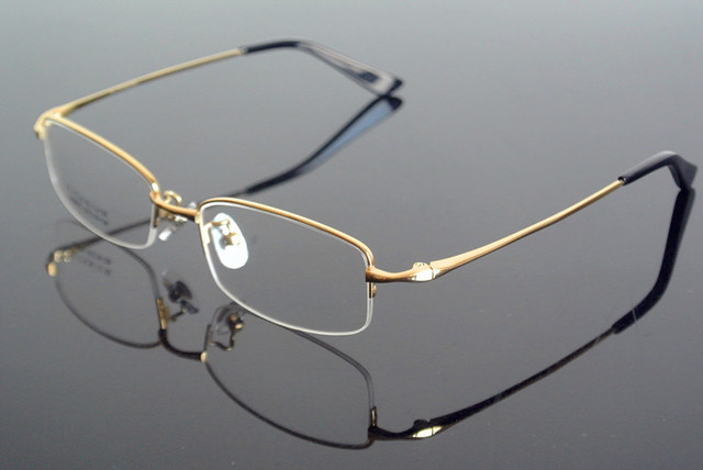 b7f4c2f03303 men's Pure Titanium Half Rimless Eyeglass Frame Glasses Spectacles Rx able  Eyeglasses